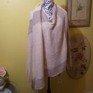 Jackets & Blazers - Cream, tan, and gold sweater poncho cape